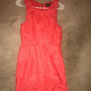 ASTR Coral dress with lace overlay